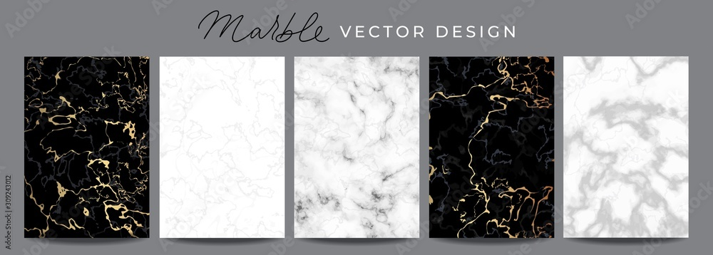 Fototapeta Set of marble vector design luxury backgrounds. Collection consists of black, white, gray marmoreal stone texture templates with golden lines for wedding invite, greeting, birthday card and covers