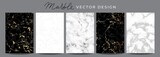 Fototapeta Kamienie - Set of marble vector design luxury backgrounds. Collection consists of black, white, gray marmoreal stone texture templates with golden lines for wedding invite, greeting, birthday card and covers