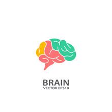 Brain Logo Vector Design, Vector Flat Icon.