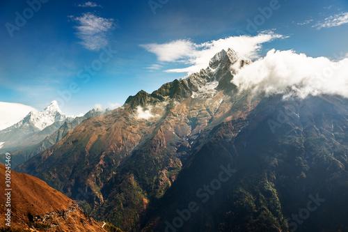 View of Mount Thamserku and Mount Ama Dablam in Himalaya mountains Canvas Print