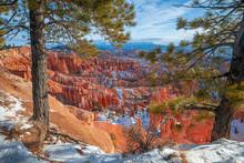 Bryce Canyon National Park, Winter Snow. Utah. USA.