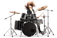 Energetic Female Drummer Throwing Her Hair And Playing Drums