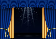 Vector Realistic Classic Blue And Gold Stage Curtains Frame With Spotlights, Flying Glitter. Luxury Silk Velvet Curtains With Drapery, Golden Cord. Portiere Drapes For Ceremony, Opera Scene, Playbill.