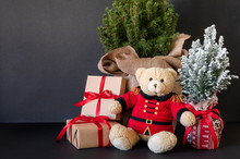 Teddy Bear And Traditional Christmas Plants-picea Glauca Conica Tree, Chamaecyparis Lawsoniana Ellwoodii Cypress Tree, Gifts On The Black Background-New Year Greeting Card Concept.