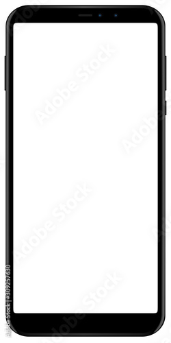 Photo Brand new smartphone black color with blank screen isolated on white background mockup