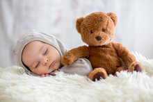 Sweet Baby Boy In Bear Overall...
