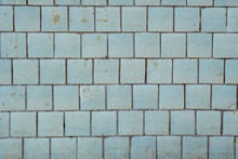 Blue Tiles On A Wall As A Background Image.