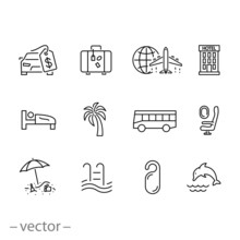 Summer Travel And Relax Icon Set, Traveling And Transport Signs, Tourism And Vacation, Thin Line Web Symbols On White Background - Editable Stroke Vector Illustration Eps10