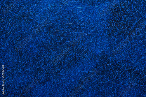 Blue book cover texture. Imitation skin. Background. Copy space