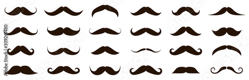 Valokuva Different mustache collection. Vector illustration