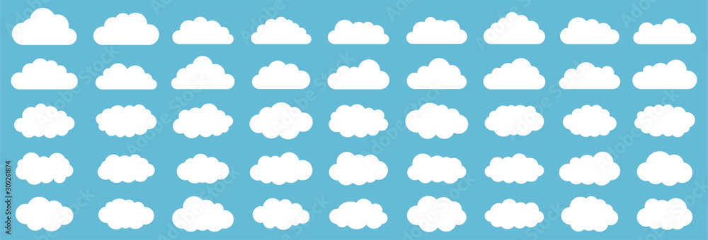 Fototapeta Set of clouds. Cloud icon. Vector illustration.