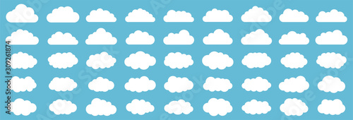 Obraz Set of clouds. Cloud icon. Vector illustration. - fototapety do salonu