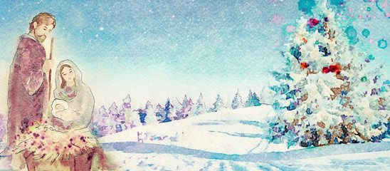 Merry Christmas. Christian watercolor banner