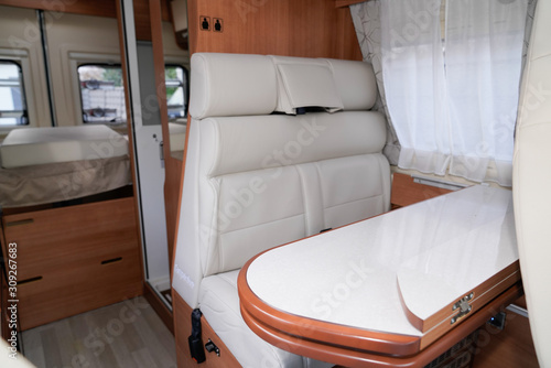 fototapeta na szkło campervan interior table wooden in modern new motor home vanlife