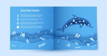 Paper Carve Stop Ocean Plastic Pollution Blue Flyer Template. Sample Environmental Booklet. Dolphin Inside Plastic Waste In Paper Cut Style. Vector Craft Cardboard Ecological Poster Concept.