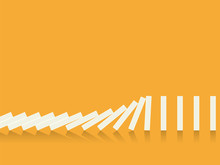 Falling Dominoes On A Orange Background. Vector In Flat Style