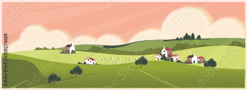 Fototapeta Wild panoramic rural countryside in spring or summer.Green hill with bush and tree. Concept of Europe farm agriculture with sheep in spring or summer. obraz