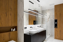 Bathroom In Wood And Marble