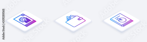 Fototapety, obrazy: Set Isometric line Document with graph chart, Wallet with stacks paper money cash and User manual. White square button. Vector