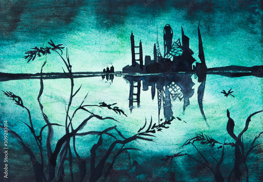 Post apocalyptic futuristic city landscape with lake in front at night, watercolor illustration painting