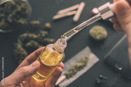 natural herb, CBD cannabis OIL Canvas-taulu