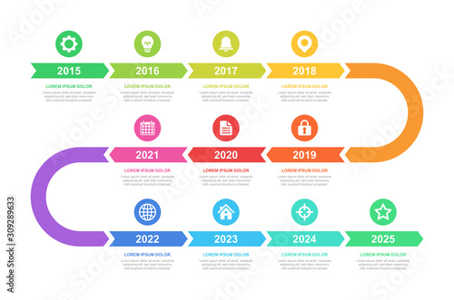 Obraz Timeline and infographic concept design, modern, with icons. Easy to customize template. EPS 10. - fototapety do salonu
