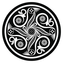 Isolated Vector Illustration. Round Geometrical Decor In Folk Style. Ancient Greek Minoan Motifs. Pottery Mandala. Black And White Silhouette.