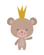 Cute bear cartoon with crown vector design