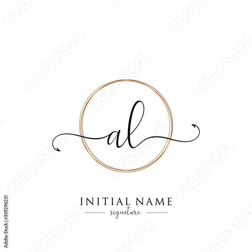 Initial Letter AL Signature Handwriting and Elegant Logo Design Vector Wallpaper Mural