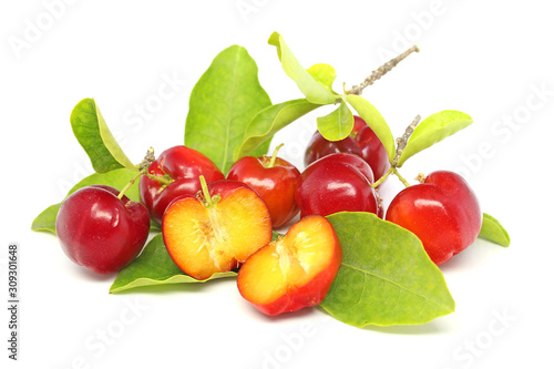 Fresh acerola fruit and slice isolated on white Wallpaper Mural