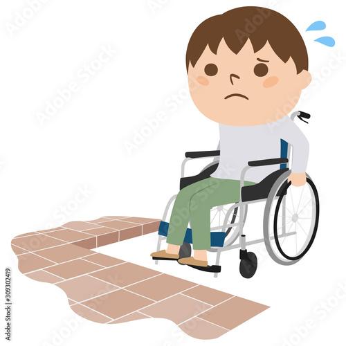 Obraz na plátně 車イスに乗った男性のイラスト。車イスで移動している男性。段差が障害になって進めない様子。