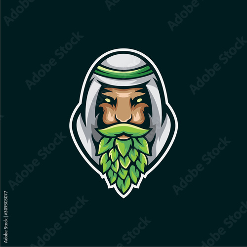 Fotografía sultan brewery mascot  logo illustration