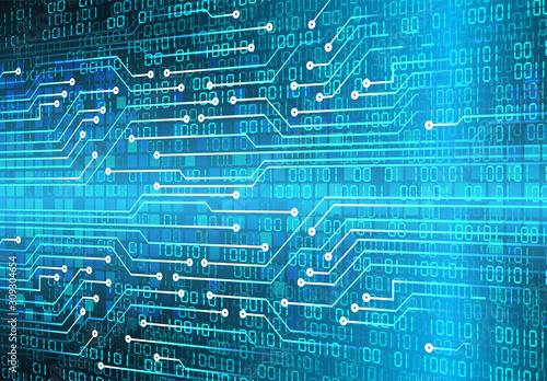 Blue cyber circuit future technology concept background Fototapet