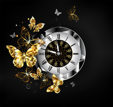 Antique Clock With Golden Butterflies