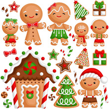 A Vector Set Of Cute Gingerbread Family Celebrating Christmas Time With Warm House And Presents