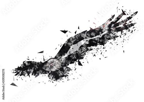 羽ばたく抽象的な鳥 Canvas Print