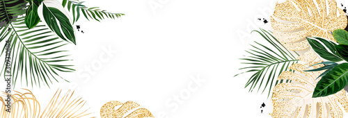 Foto  Tropical banner arranged from exotic emerald and golden glitter leaves
