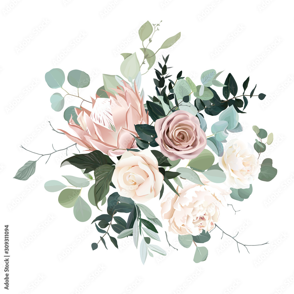 Fototapeta Silver sage and blush pink flowers vector design bouquet.