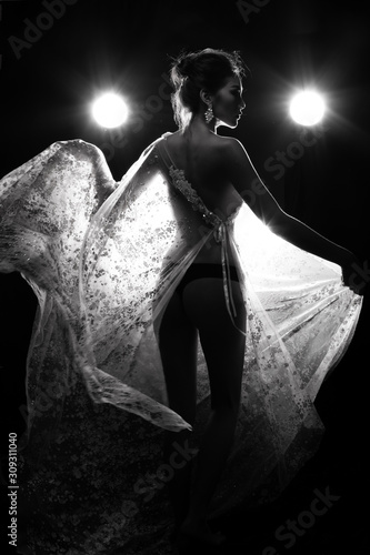 Fotomural  B&W dark tone of Erotic silhouette nice shape Asian woman in Lace see through ev