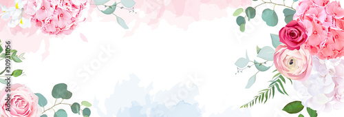 Trendy simple flat lay design vector horizontal background.