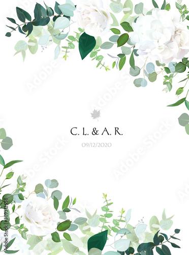 Floral vector banner vertical invitation frame with white rose Fototapeta