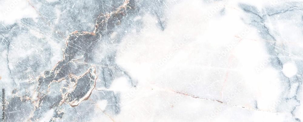 Fototapeta Blue and White Marble texture frame background