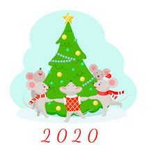 Illustration Of New Year 2020 Mouse. Mice Dance Around The Christmas Tree. Flat Style.