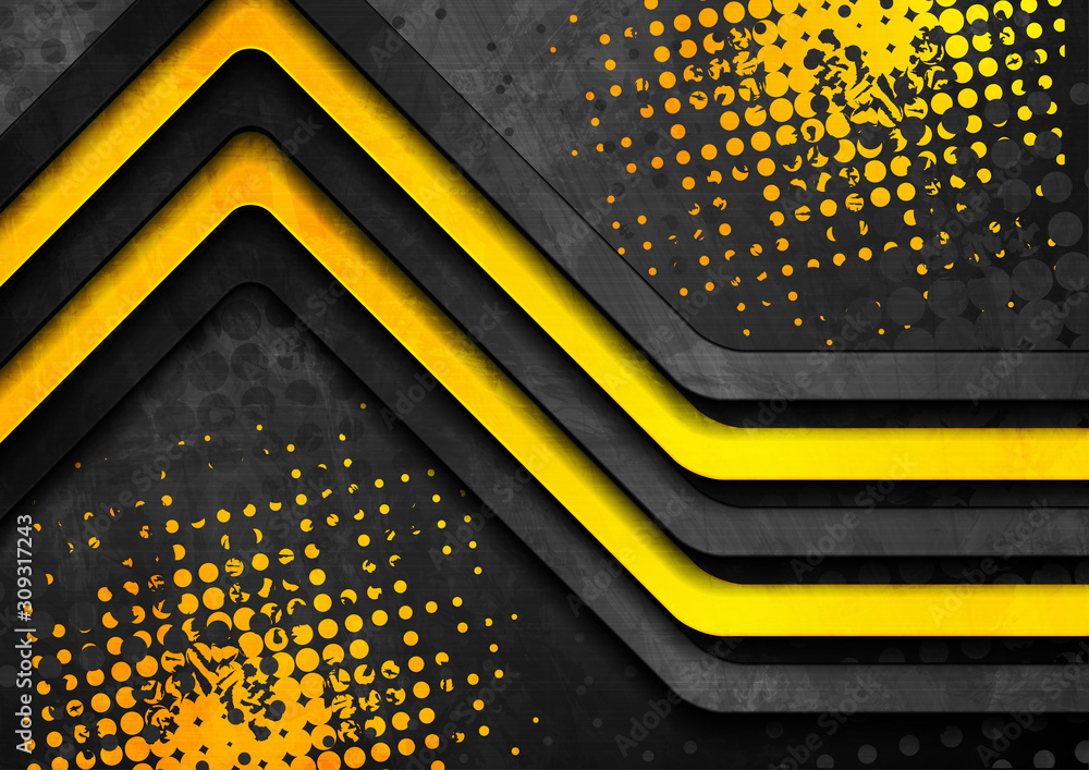 Black and yellow contrast stripes abstract corporate grunge background. Vector design