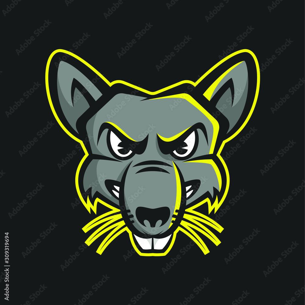 Fototapeta Rat Head Mascot Logo