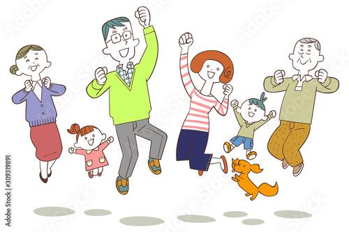 Obraz ジャンプする三世代の家族 - fototapety do salonu