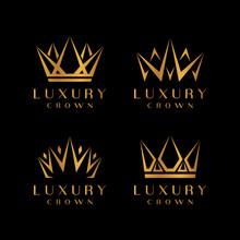 Gold Crown Icons. Queen King Golden Crowns Luxury Logo Design Vector Set