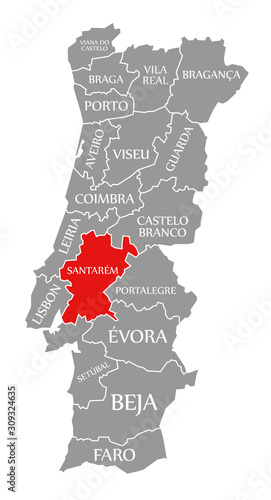 Santarem red highlighted in map of Portugal Billede på lærred