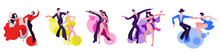 A Set Of Images Of Dancing Couples On The Latin American Dance Program. Couples Dance Samba, Rumba, Paso Doble, Jive, Cha-cha-cha.