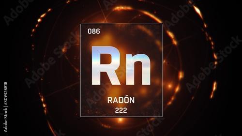 3D illustration of Radon as Element 86 of the Periodic Table Tapéta, Fotótapéta